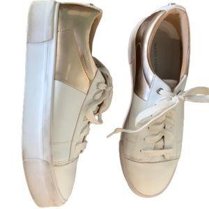 Marc Fisher Xena metallic Rose Gold heel sneakers
